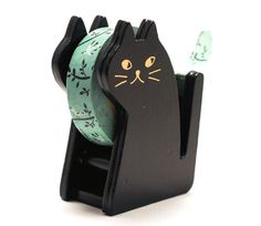Cat Washi Tape Dispenser Black Color by Maigocute on Etsy