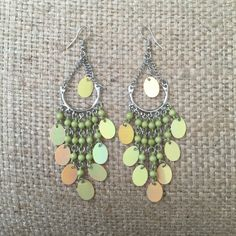 Earrings #5 Green chandelier earrings. Bundle with other items in my closet for a discount!! Jewelry Earrings