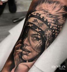Native American Girl Tattoo by Bolo Art Tattoo - Tattoos - tattoos Indian Women Tattoo, Indian Girl Tattoos, Indian Tattoo Design, Indian Chief Tattoo, Tattoo Girls, Girls With Sleeve Tattoos, Tattoos For Women, American Indian Girl, Native American Girls