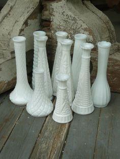 Vintage White Milk Glass  Bud Vases Shabby by vintagepurveier, $40.00