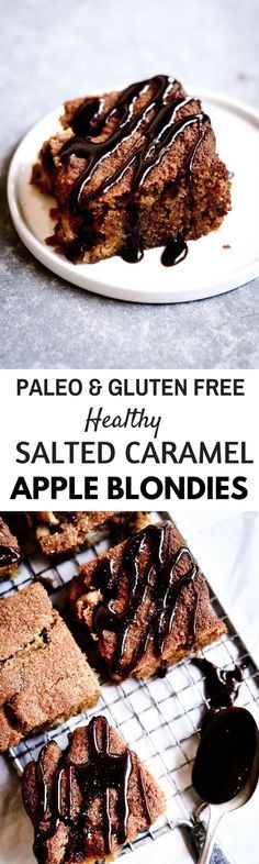 Apple blondies are PALEO- doused in warm caramel sauce and filled with chunks of warm and toasty apple bits. Paleo Sweets, Paleo Dessert, Vegan Snacks, Gluten Free Desserts, Healthy Desserts, Healthy Eats, Paleo Baking, Gluten Free Baking, Baking Recipes