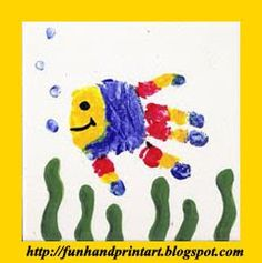 Cute Handprint Fish Tile Keepsake