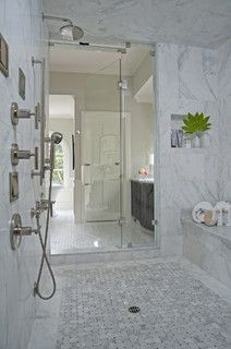 Marble Basketweave Floor With White Marble Border   Royal Stone U0026 Tile  Carrara Marble Bathroom