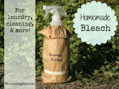 "DIY Homemade ""Bleach"" for Laundry, Cleaning Recipe (trick is to mix it just before using it) on Nourishing Joy at http://nourishingjoy.com/homemade-bleach/"