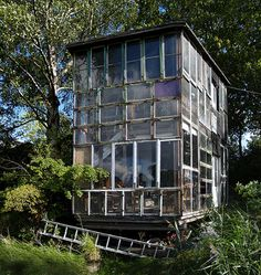 greenhouse made from reclaimed windows and doors.