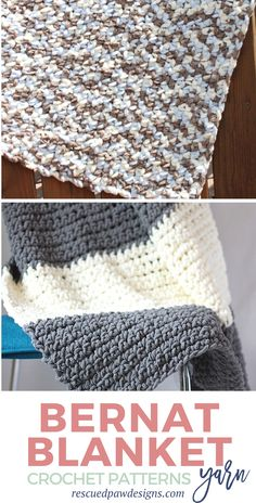 Make one or all five of these bernat blanket yarn crochet patterns! freecrochetpatterns bernat easycrochetcom bernat blanket yarn patterns crochet free knitting crochet seedling blanket in 12 sizes! Easy Crochet Blanket, Baby Afghan Crochet, Blanket Yarn, Crochet Yarn, Crochet Throws, Crocheted Blankets, Free Crochet, Beginner Crochet, Baby Afghans