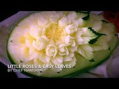 little roses and classic design in watermelon(แกะสลักแตงโม) l By chef namtarn - YouTube