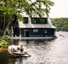 48 epic dream hotels to visit before you die - Matador Network - Dedon Island Resort, Philippines. Lake Cabins, Cabins And Cottages, Beautiful Homes, Beautiful Places, Amazing Places, Cabins In The Woods, Lake Life, Interior Exterior, Black Exterior
