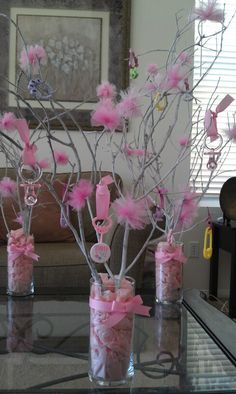 DIY Tree Branch Centerpieces - Party/BabyShower/Wedding: If you're working w/ a budget, here's a cute, inexpensive & easy to-do project..©BARN TREE PLACE ORIGINAL. Please visit our website or board to see other amazing DIY's