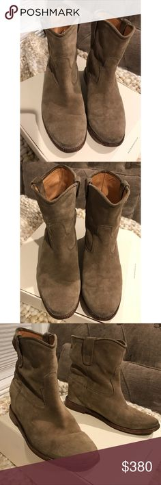 Isabel Marant Étoile Crisi suede Ankle Boots 37 Isabel Marant Étoile Crisi suede Ankle Boots Size 37. US Size 7. Worn a handful of times, no damage & normal decent good worn condition. Conditions & all details are shown in pic. Colour is Taupe. Original Price as $770 plus tax. This colour is best selling for this model as I'm told. Other Poshmark Sellers are selling this at $450+. I'm at $380 firm. No shoes box or dust bag. I love the boots still, classic model, great shape, cutting…