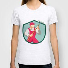 House Painter Holding Paint Roller Shield Retro T-shirt