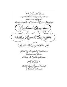 Letterpress Wedding Invitation in Calligraphy