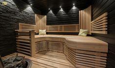 Sisustus  - Sauna - Moderni Sauna Lights, Finnish Sauna, Sauna Room, Saunas, Bathrooms, House Design, Lighting, Architecture, Wood