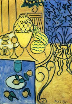 Henri Matisse - Interior in Yellow and Blue.. Matisse pretty much does the best colors in the world.