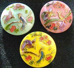 3 Czech UNIQUE Glass Buttons #G058 - EXOTIC BIRDS - ASIAN SIGN