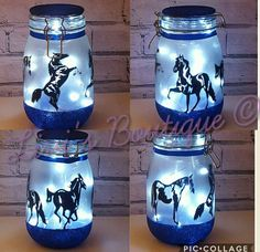 Horse Night Light Large Fairy Light Up Jar Horse Lamp Horse Fairy Glow Jars, Fairy Lights In A Jar, Jar Lights, Crafts With Glass Jars, Mason Jar Crafts, Bottle Crafts, Cozy Mysteries, Horse Themed Bedrooms, Horse Nursery