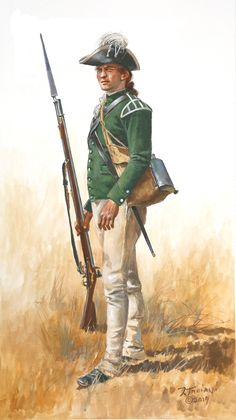 """""""A grenadier of the famed Loyalist corps the """"Queen's Rangers"""" . This is before they got their iconic leather caps in Artist Don Troiani. American Revolutionary War, Native American History, American Civil War, Early American, Titanic History, Us History, Rms Titanic, British History, Ancient History"""