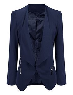 Grapent Womens Navy Blue Open Front Draped Asymmetric Side Zip Business Blazer Jacket US 14 >>> See this great product.Note:It is affiliate link to Amazon.