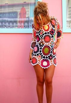 WHITE HARLEQUIN FESTIVAL CROCHET DRESS