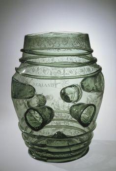 Drinking Barrel (Daumenglas), Drinking Barrel (Daumenglas), Category: Medieval, Origin: Netherlands, Date: Bottle Vase, Bottles, Corning Museum Of Glass, Kitchen Jars, Medieval Life, Antique Glassware, Drinking Glass, Middle Ages, Decorative Accessories