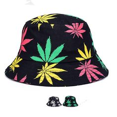 BomHCS Summer Foldable Portable Printed Pattern Cotton Bucket Hat Sun Hat Caps 17MZ37F2