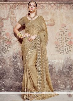 Designer Golden Colored Bridal Saree Floral Cut Work Border Full Embroidery Sari With Moti Work Blouse Lehenga Sari, Bridal Lehenga, Saree Wedding, Net Saree, Wedding Dresses, Anarkali Suits, Punjabi Suits, Wedding Bride, Wedding Cake