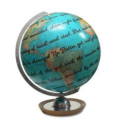 Vintage Globe Art, Custom Lyric, Poem or Vow, Personalized Globe Art Globe Art, Map Globe, World Map Wall Art, Map Art, Floor Globe, Vintage Globe, Vintage Market, Colorful Backgrounds, Wedding Vows