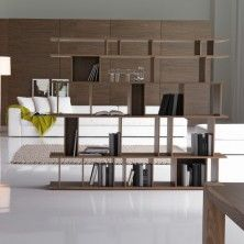 Libreria bifacciale Loft in laccato bianco