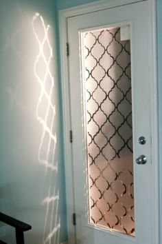 A faux frosted glass door makeover using contact paper. Glass door for laundry room? Papel Contact, Frosted Glass Door, Glass Doors, Frosted Glass Design, Frosted Glass Sticker, Glass Door Curtains, Etched Glass Door, Glass Closet Doors, Frosted Window Film