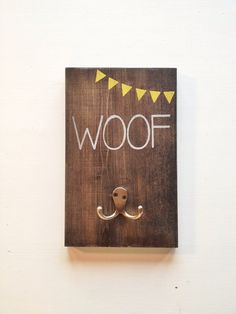 "Dog Leash Holder little yellow flags ""Woof"" on Etsy, $24.99"