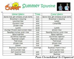 From Overwhelmed to Organized: Organizing Our Summer: Daily Routine