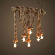 loft amerikaanse land diy touw vintage bamboe hanglampen lusters de sala industriële pendente teto luminarias de verlichting(China (Mainland))