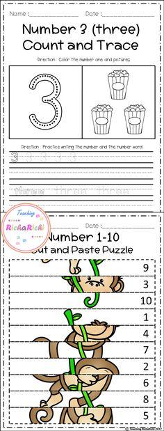 Freebies, FREE number fluency 1-10 for prek and kindergarten activities.
