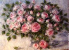 """Купить Картина из шерсти """"Розовый букет"""" - искусство, декор для интерьера, оригинальный подарок, розовый"""