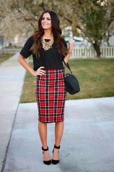 plaid skirt, black top, ankle strap heels