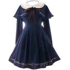 buy popular 08b73 cabd6 Partiss Women s Vintage Cape Long Sleeve Classic Sweet Lolita Dress,  Chinese One Size, Navy