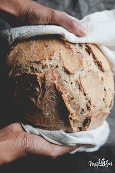 whole wheat artisan bread with seeds vegan Artisan Bread Recipes, Dutch Oven Recipes, Banana Bread Recipes, Whole Wheat Baguette Recipe, Pain Artisanal, Rustic Bread, Rustic Whole Wheat Bread Recipe, Dutch Oven Bread, Sicilian Recipes