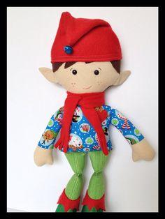 Plush Elf Cloth Doll Christmas Elf Doll Elf Doll by LittleLuckies2, $45.00 #funkyfriendsfactory #elf #elfdoll