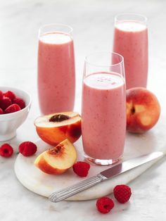 Peach and Raspberry Smoothie Recipe | myfoodbook | Dairy Free Breakfast Smoothie