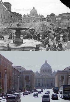 Piazza Scossacavalli during the demolition of the Borgo in 1937 for the construction of Via della Conciliazione. From: Luce Archives