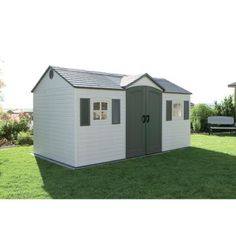 garden shed Safely store your garden items in this handsome shed from LifetimeGive your property a clean look with the function of a side-entry shedReinforced with powdercoated steel, this shed will stand up to the weather year after year