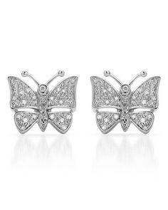 Ladies Diamond Earrings Designed In 925 Sterling Silver at Modnique.com