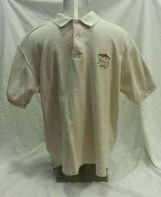 Vintage L.L. Bean 100% cotton Polo Shirt Freeport Maine sz Large fish  embroidery #LLBean