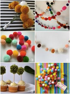 Yarn Pom Pom DIY Tutorials for Weddings... & Where To Buy | Bridal Musings