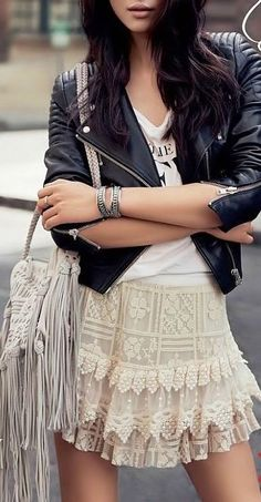 Moto Jacket + Lace Skirt ♥