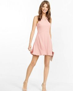 Cut-out Neck Fit And Flare Dress | Express