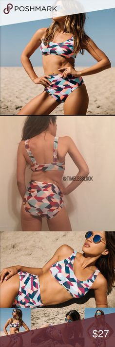 """Colorful kaleidoscope print sexy high waist bikini Top quality Multi color print sexy high waist bikini set  •no trades  •SHIPS TOMORROW  •Brand new!  •ask any questions and comment below!!  •TRUE TO SIZE for all sizes  ❗️❗️❗️brand added for reference and exposure this is n.ot in their line of products    @goguios in insta  - wearing sm stats 5'1 32a/b  visit """"Closet Rules"""" for more info Topshop Swim Bikinis"""