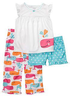 Carter's® 3-Piece Whale Pajama Set Toddler Girls