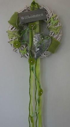 Türkranz, Türschmuck, Herz, Willkommen, Frühling, Sommer, grün-weiß