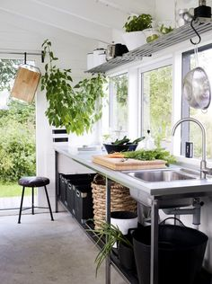 Outbuilding of the Week: Black and White Orangery, Scandi Style - Gardenista - Living Area - Kitchen - Garden / Yard - Treehouse - House Exterior Sweet Home, Scandi Style, Cuisines Design, Küchen Design, Design Ideas, Design Hotel, Interiores Design, Kitchen Dining, Open Kitchen